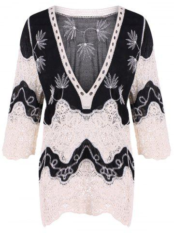 Fashion Lace Splicing Plunge Neck Blouse BLACK 4XL