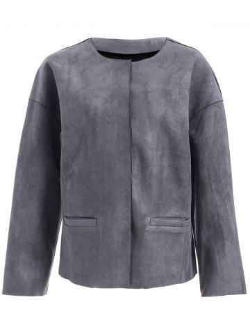 Discount Faux Leather Collarless Jacket