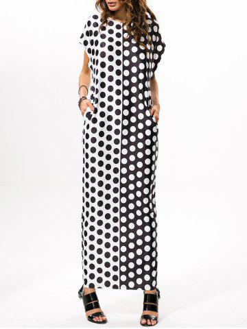 Discount Polka Dot Print Loose Maxi Dress WHITE AND BLACK 2XL