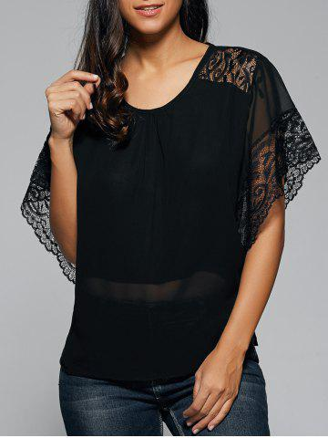 Shops Lace Bat Sleeve Chiffon Tee