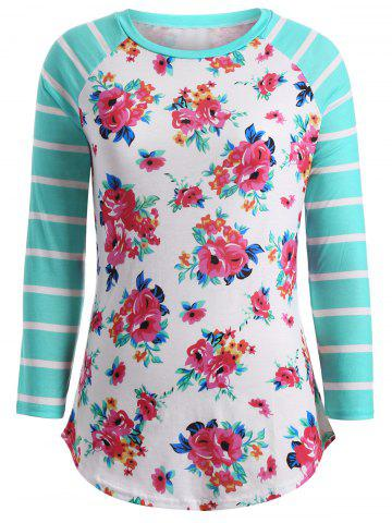 Affordable Flower Print Striped Patchwork T-Shirt