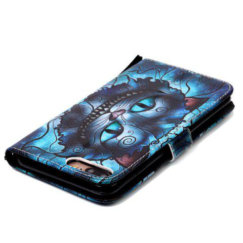 Outfits Mysterious Cat PU Wallet Design Phone Case For iPhone 7 Plus - BLUE  Mobile