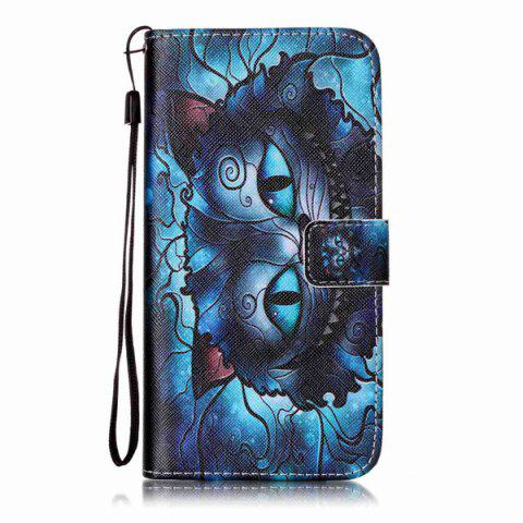 Buy Mysterious Cat PU Wallet Design Phone Case For iPhone 7 Plus - BLUE  Mobile