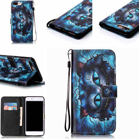 Store Mysterious Cat PU Wallet Design Phone Case For iPhone 7 Plus - BLUE  Mobile