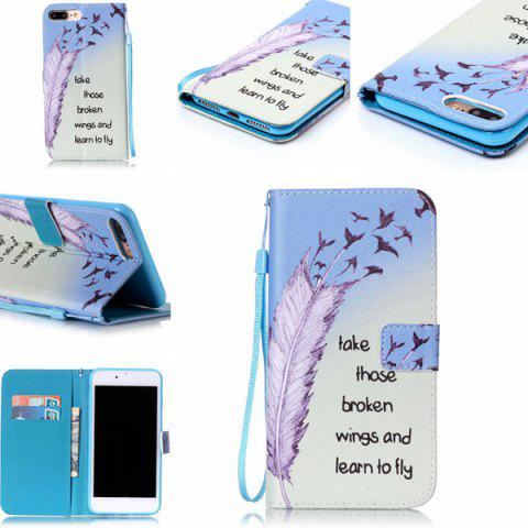 Affordable Feather Quote Wallet Design Phone Case For iPhone 7 Plus - COLORMIX  Mobile