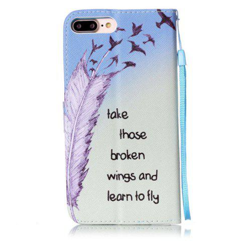 Trendy Feather Quote Wallet Design Phone Case For iPhone 7 Plus - COLORMIX  Mobile