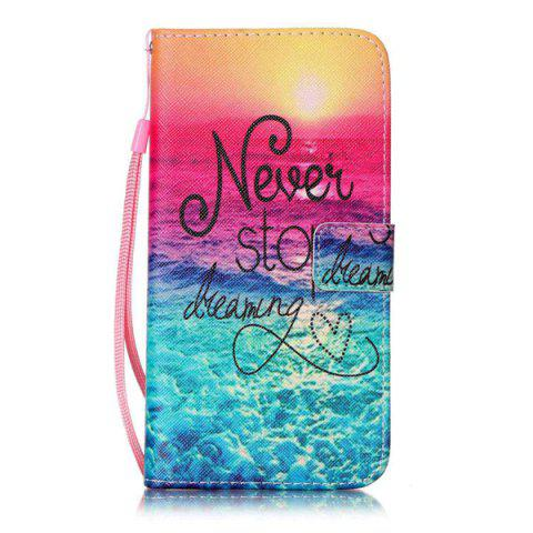 Trendy PU Wallet Design Stop Dreaming Quote Phone Case For iPhone 7 Plus -   Mobile