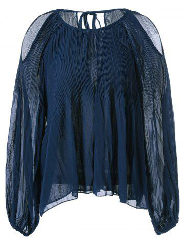 Discount Open Shoulder Pleated Chiffon Blouse
