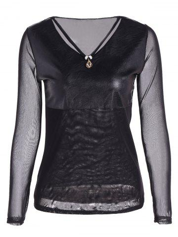 Store Faux Leather Voile Rhinestone Necklace Top