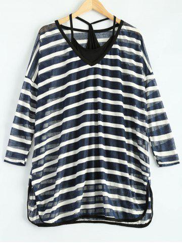 Buy Loose Striped See-Through Slit T-Shirt and Camisole