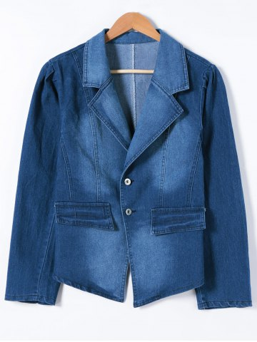 New Buttoned Slimming Denim Blazer - 5XL DENIM BLUE Mobile