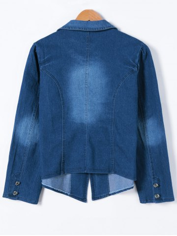 Store Buttoned Slimming Denim Blazer - 5XL DENIM BLUE Mobile