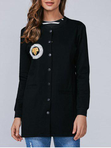 Affordable Applique Single Breasted Coat With Slit Pockets