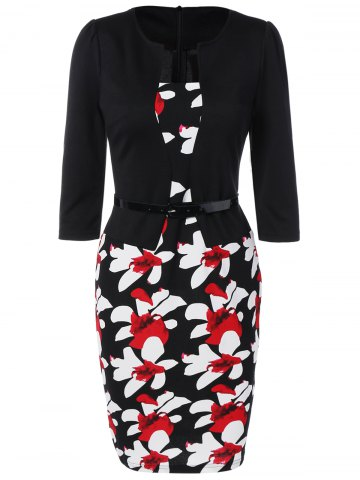 Affordable Floral Mid Length Pencil Dress BLACK S