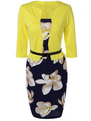 New Floral Mid Length Pencil Dress YELLOW 4XL