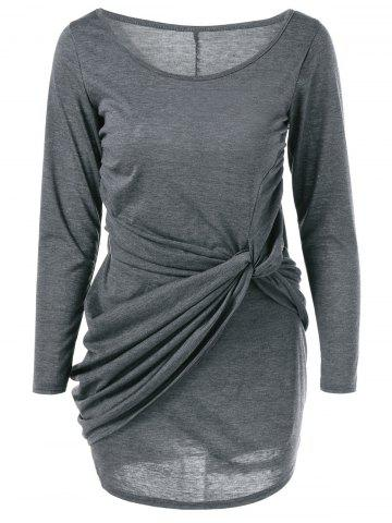 Buy Scoop Neck Twist-Front Dress GRAY XL