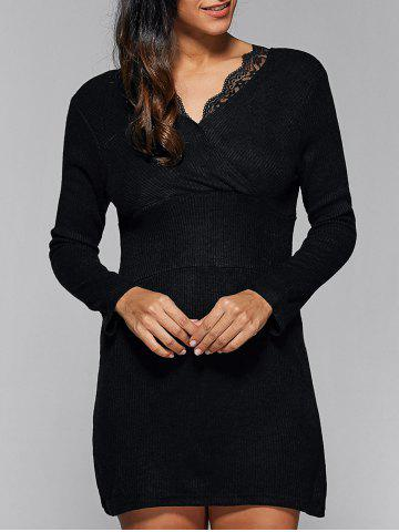 Buy Ribbed Lace Insert Short Jumper Dress