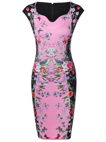 Latest Flower Butterfly Print Bodycon Dress PINK 3XL