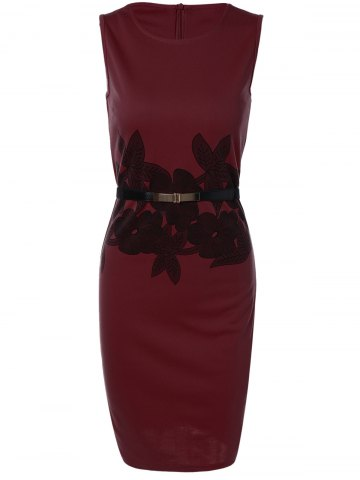 Outfit Belted Flower Print Pencil Bodycon Formal Dress