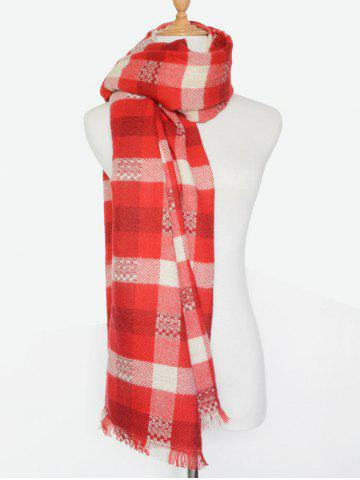 Store Winter Plaid Pattern Fringed Wrap Shawl Scarf RED