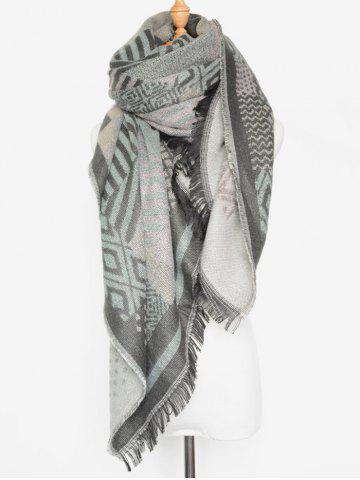Unique Winter Geometry Fringed Shawl Scarf LIGHT GRAY