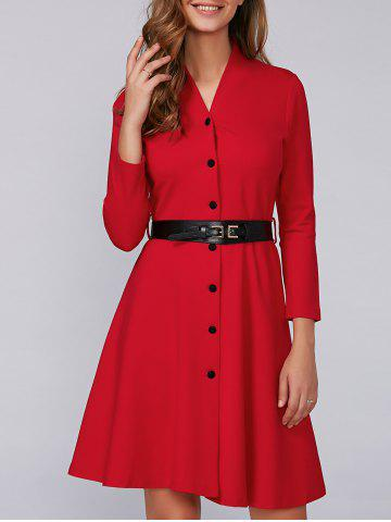 Cheap Swing Belted Button Up Dress