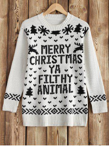 Round Neck Christmas Snow Sweater - White - One Size