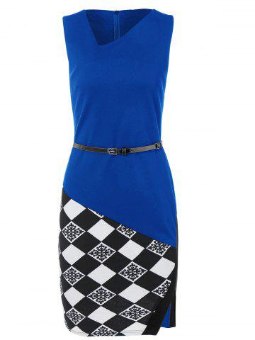 Fashion Argyle Skew Neck Sleeveless Bodycon Pencil Dress BLUE M