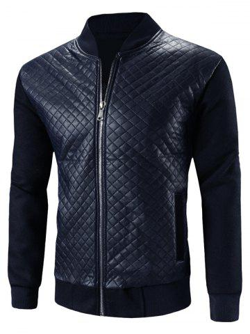 Pied de col Argyle PU-cuir Splicing design Veste Zip-Up