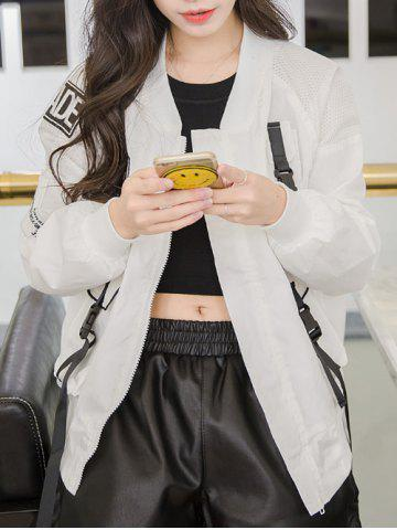 Outfit Letter Patch Mesh Spliced Baseball Jacket