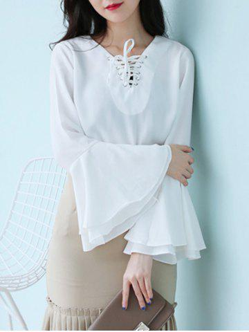 Fancy Flare Sleeve Lace Up Chiffon Blouse