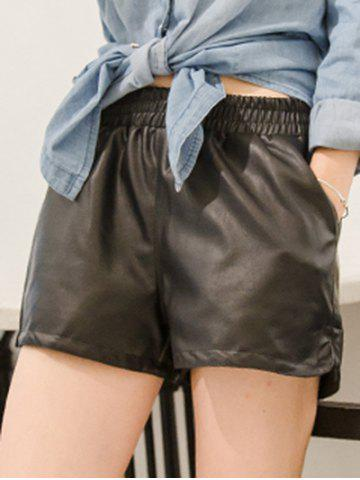 Outfits PU Leather Elastic Waist Shorts