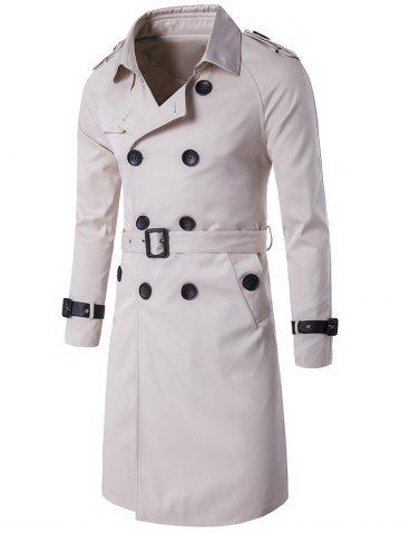 Epaulet PU-Leather Belt Embellished Double-Breasted Long Trench Coat - Off-white - M