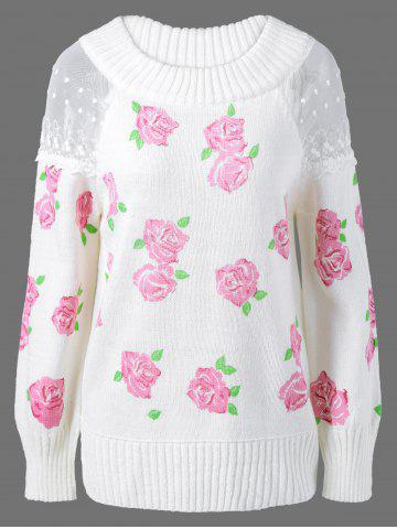 Hot Lace Floral Print Pullover Sweater