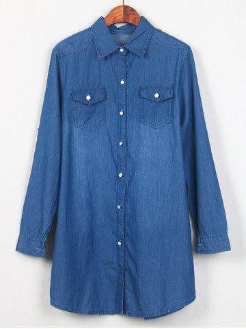 Store Shirt Neck Long Denim Shirt