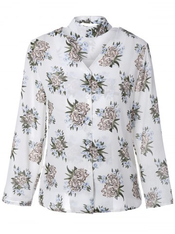 Outfits V Neck Long Sleeve Floral Print Shirt