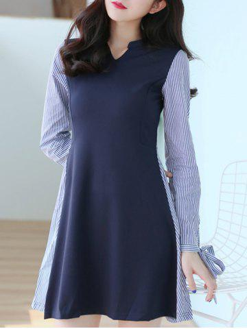 Outfit V Neck Long Sleeve Striped Spliced Dress PURPLISH BLUE M