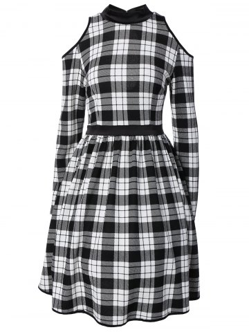 Affordable Stand Neck Cold Shoulder Cutout Checked Dress