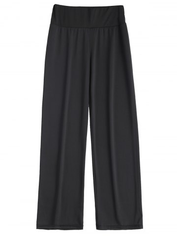 Long Stretch Elastic Waist Wide Leg Work Pants - Black - 2xl