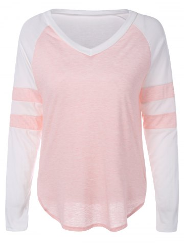 Chic Color Block Panel Raglan Sleeve T-Shirt