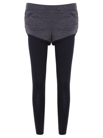 Slim Pockets Fake Twinset Leggings - Gray - S
