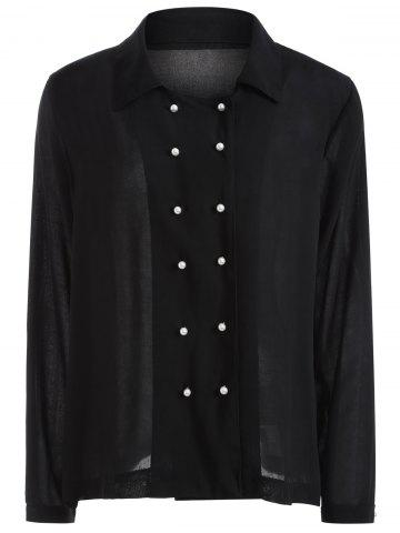 Outfit Autumn Faux Pearl Double-Breasted Shirt