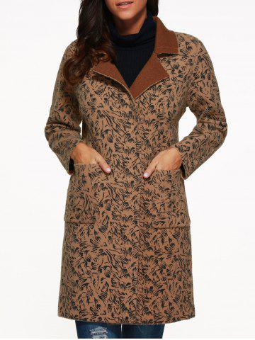 Affordable Lapel Collar Leopard Print Pocket Cashmere Coat