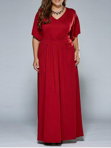 Shops Ruched V Neck Maxi Prom Dress WINE RED 6XL
