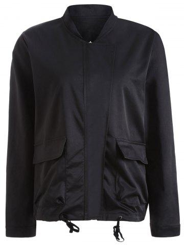 Cheap Autumn Drawstring Pockets Satin Bomber Jacket BLACK 4XL