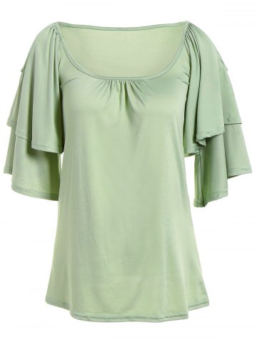 Unique Cold Shoulder Layered Sleeve Ruched Blouse