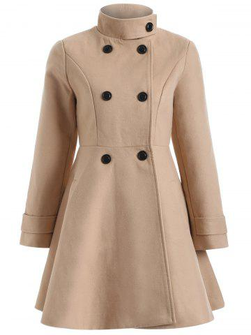 Sale Warm Double-Breasted Felt Trench Coat CAMEL XL