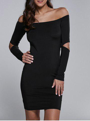 Fancy Cut Out Off The Shoulder Long Sleeve Bodycon Dress BLACK XL