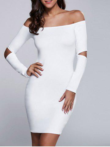Chic Cut Out Off The Shoulder Long Sleeve Bodycon Dress WHITE XL