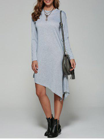 Autumn Asymmetric Long Sleeve Casual Dress - GRAY XL